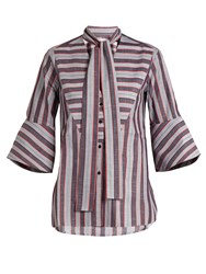 Palmer Harding Striped Pussybow Neck Cotton Shirt Blue Multi