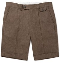 Brunello Cucinelli Linen Bermuda Shorts Brown