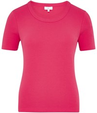 Cc Embroidered Crew Neck T Shirt Pink