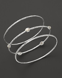 Ippolita Sterling Silver Bangle Trio With Mother Of Pearl