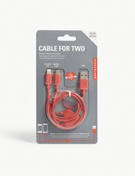 Kikkerland Dual Heart Iphone And Micro Usb Charging Cable 91Cm