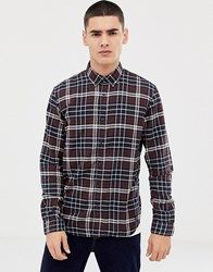 Tom Tailor Slim Fit Check Shirt In Soft Touch Navy
