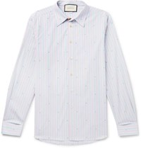 Gucci Embroidered Striped Cotton Shirt Blue