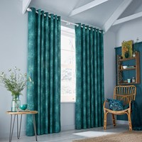 Clarissa Hulse Dill Lined Curtains Dark Aqua Blue Green