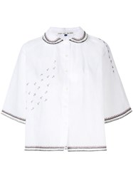Jupe By Jackie Embroidered Organdy Shirt Cotton White