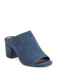 424 Fifth Open Toe Suede Mules Nightfall Blue