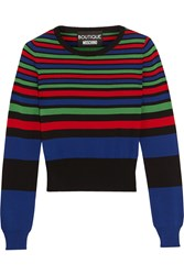 Boutique Moschino Striped Stretch Knit Sweater Royal Blue