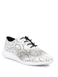 Cole Haan Zer Grand Snake Print Leather Oxford Sneakers Black White