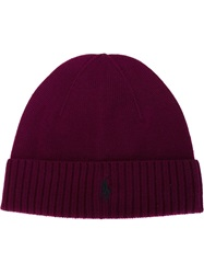 Polo Ralph Lauren Embroidered Logo Beanie Pink And Purple