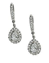Givenchy Silvertone Crystal Drop Earrings Crystal Silver