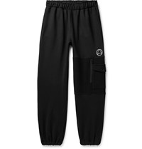 Mcq By Alexander Mcqueen Panelled Logo Embroidered Loopback Cotton Blend Jersey Sweatpants Black