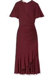 Michael Kors Collection Ruffled Ruched Wrap Effect Jersey Midi Dress Burgundy
