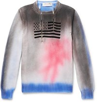 1017 Alyx 9Sm Embroidered Spray Painted Cotton Half Zip Sweater Multi