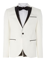 Label Lab Harvey Sb1 Closed Contrast Lapel Skinny Blazer White