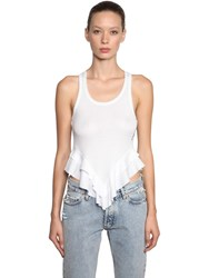 Filles A Papa Ruffled Cotton Ribbed Tank Top White