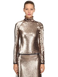 Stella Jean Sequined Long Sleeve Top Gold