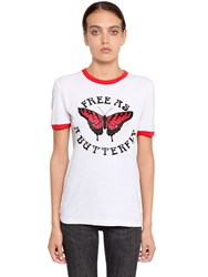 Off White Butterfly Printed Cotton Jersey T Shirt White