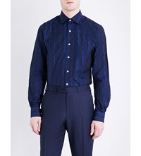 Duchamp Origami Tailored Fit Cotton Jacquard Shirt Blue