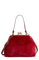 Leith Faux Fur Oversize Coin Bag Red Burgundy