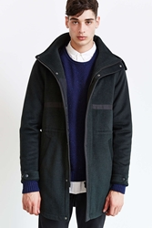 Shades Of Grey By Micah Cohen Wool Hooded Long Parka Dark Green