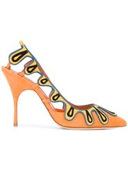 Manolo Blahnik Caritas Pumps Women Leather Calf Suede 37.5 Yellow Orange