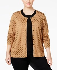 Charter Club Plus Size Polka Dot Cardigan Only At Macy's Salty Nut Combo