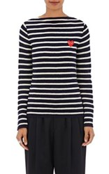 Comme Des Garcons Play Women's Striped Wool Sweater Navy