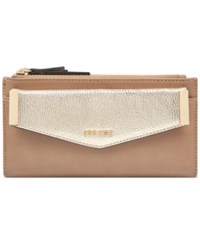 Nine West Double Zip Wallet With Pouch Dark Wheat Platino