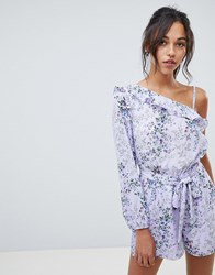 Oasis Playsuit In Ditsy Floral Print With Tie Waist Multi