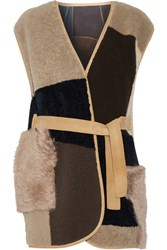 Mih Jeans M.I.H Lana Reversible Patchwork Shearling Gilet Brown