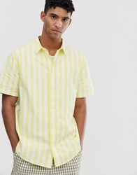 Weekday Louie Striped Shirt In Yellow White