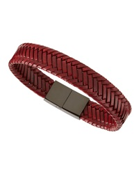 Link Up Woven Leather Bracelet Red