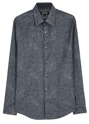 Tiger Of Sweden Farrell Blue Cotton Jacquard Shirt