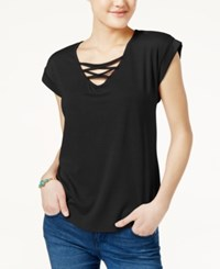 Almost Famous Juniors' High Low Lace Up T Shirt Black