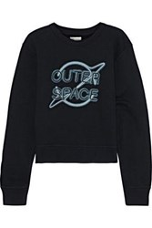 Rag And Bone Woman Embroidered Printed French Cotton Terry Sweatshirt Black