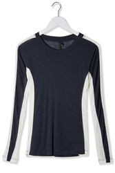 Colour Block Long Sleeved Top By Boutique Navy Blue