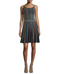 M Missoni Micro Striped Fit And Flare Dress Black Size 46