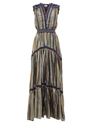 Peter Pilotto Striped Tiered Tulle Dress Blue Gold