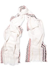 Maje Cotton Voile Scarf Ivory