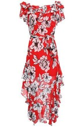 Marissa Webb Woman Sofia Ruffled Floral Print Silk Gauze Midi Dress Red