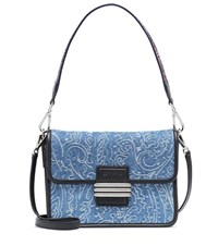 Etro Denim And Leather Shoulder Bag Blue