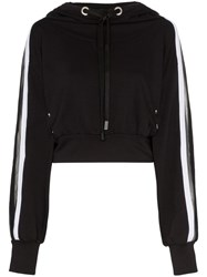 No Ka' Oi Metallic Stripe Cropped Hoodie Black