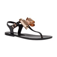 Ted Baker Ainda Bow Toe Post Sandals Black Rose Gold