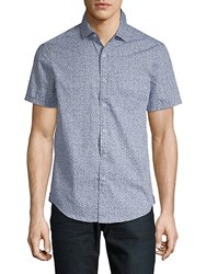 Report Collection Printed Cotton Button Down Shirt Blue