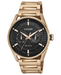 Citizen Drive From Eco Drive Men's Rose Gold Tone Stainless Steel Bracelet Watch 42Mm Black