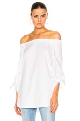 Tibi Off The Shoulder Tunic In White