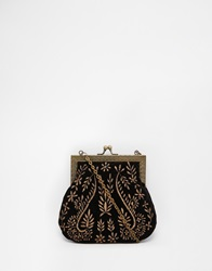 Moyna Velvet Clutch With Contrast Copper Embroidery Black