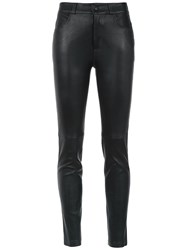 Martha Medeiros Leather Skinny Trousers Black