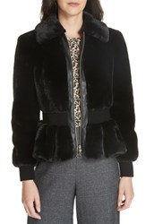 Rebecca Taylor Faux Fur Jacket Black