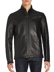 Puma Ferrari Long Sleeve Mockneck Leather Jacket Black